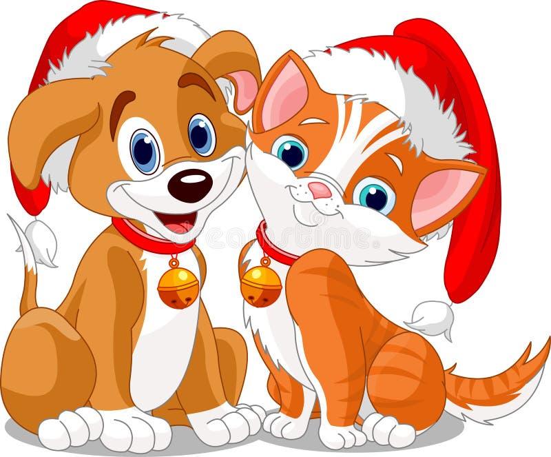 kotów boże narodzenia psi n ilustracja wektor