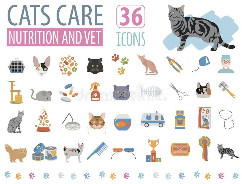 Kotów charaktery i weterynarz opieki ikony ustalony mieszkanie projektują ilustracja wektor