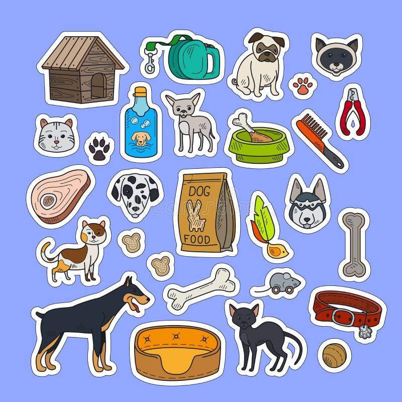 Kotów i psów kolorowi majchery ilustracji