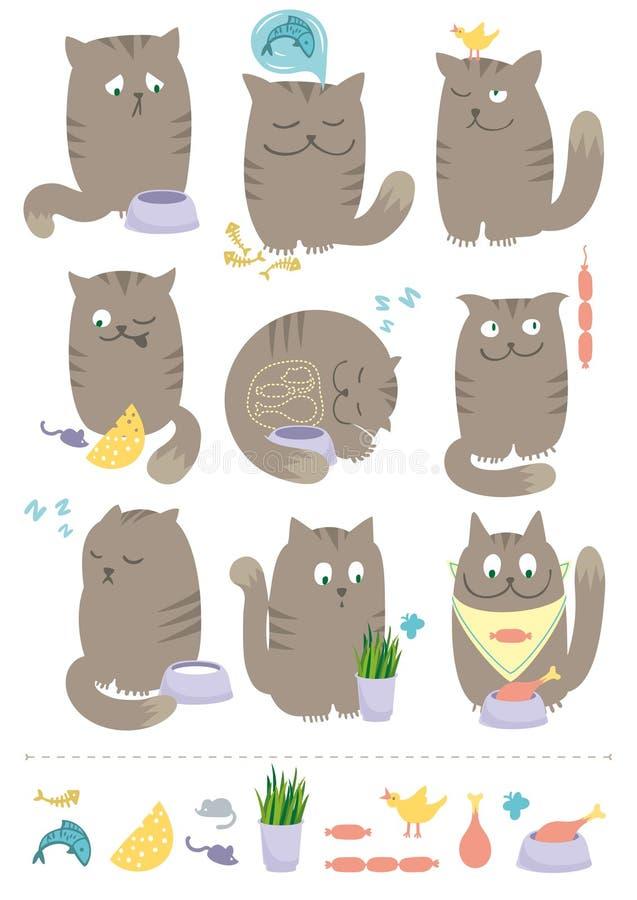 kotów jedzenia ilustracji