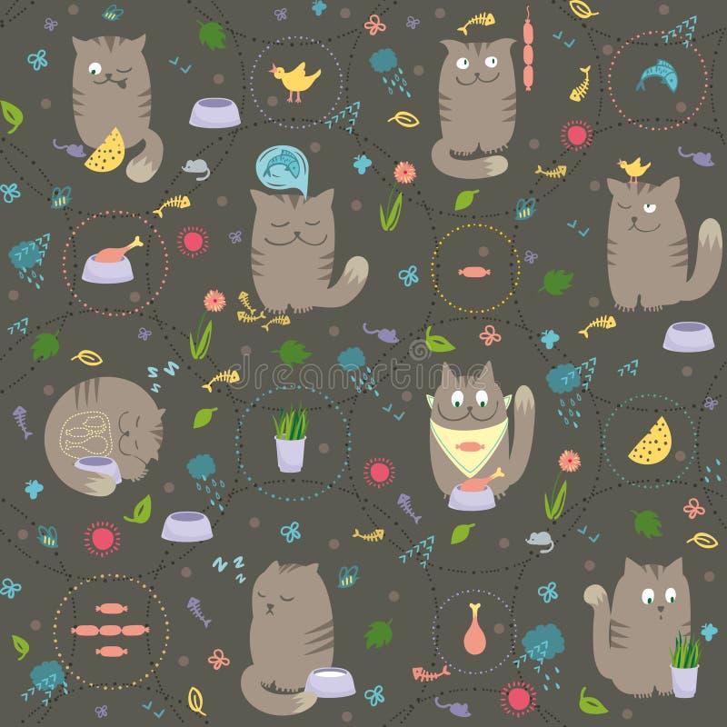 kotów jedzenia deseniują bezszwowego ilustracja wektor