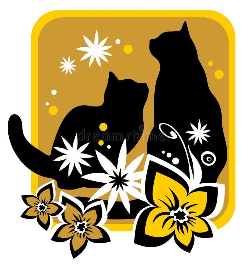 kotów kwiaty royalty ilustracja