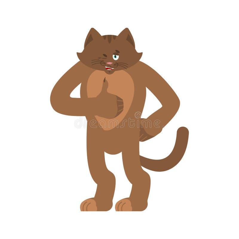 Kotów mrugnięcia i aprobaty Zwierzęcia domowego szczęśliwy emoji Kiciunia wektoru illustrat royalty ilustracja
