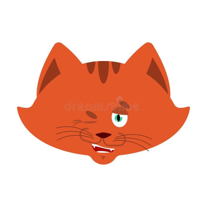 Kotów mrugnięcia Zwierzęcia domowego szczęśliwy emoji Kiciunia wektoru ilustracja ilustracji