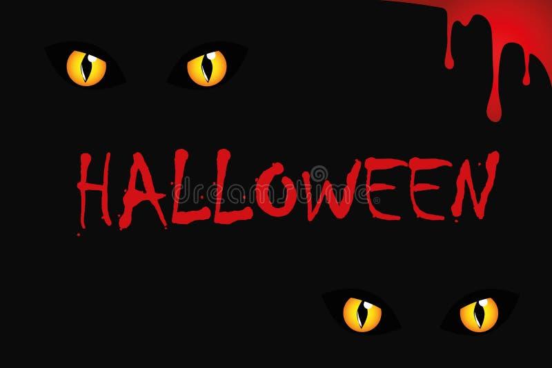 Kotów oczy na Halloween czerwieni krwi ilustracji