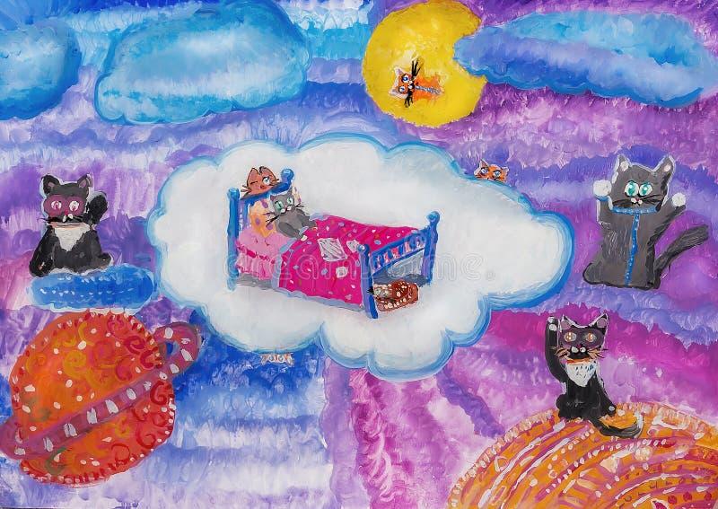 Kotów sen ilustracja wektor