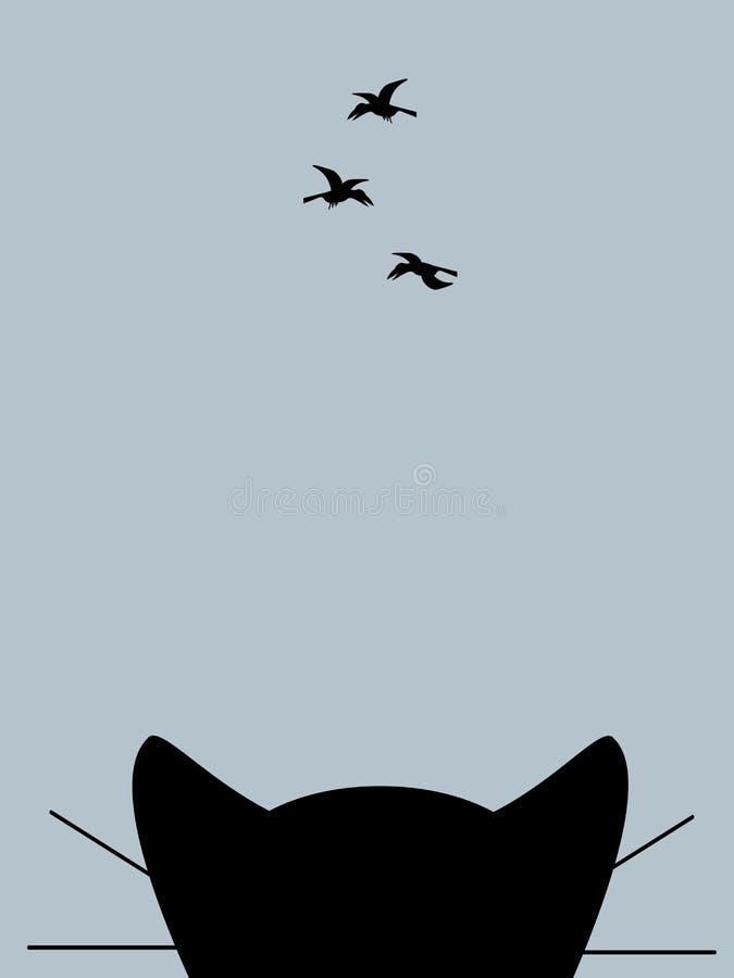 Kotów spojrzenia przy wronami ilustracja wektor