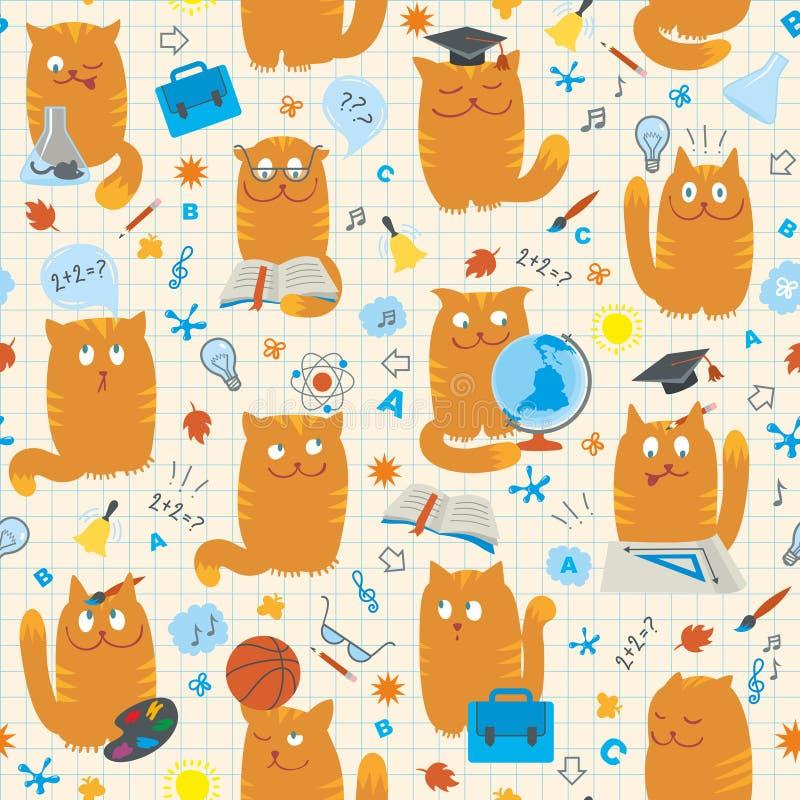 kotów wzoru szkoły bezszwowi studing tematy ilustracja wektor