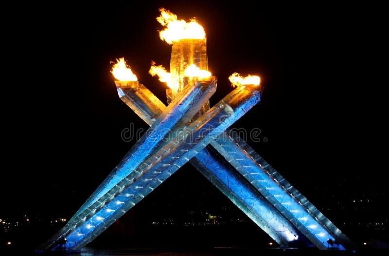 kotła płomienia olimpiady Vancouver fotografia royalty free