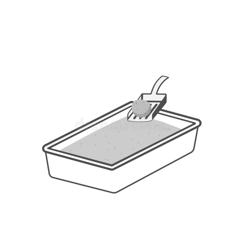 Kot ściółki pudełka ikona ilustracji