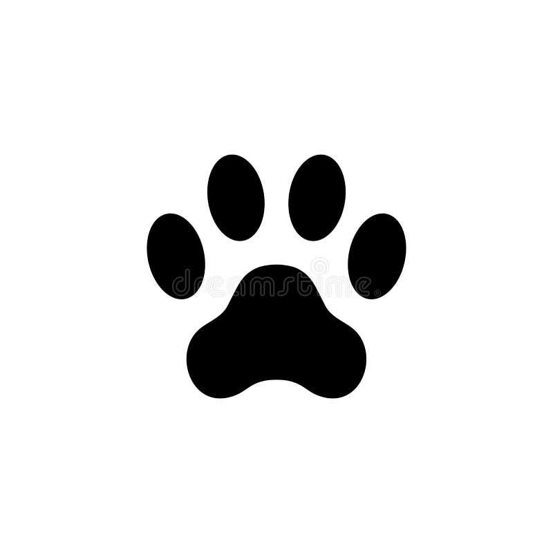Kot łapy druk footprint Zwierzęca łapa odizolowywająca na białym tle ilustracja wektor