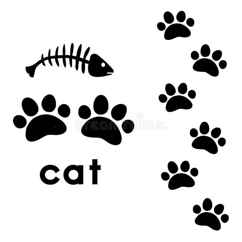 Kot łapy druki royalty ilustracja