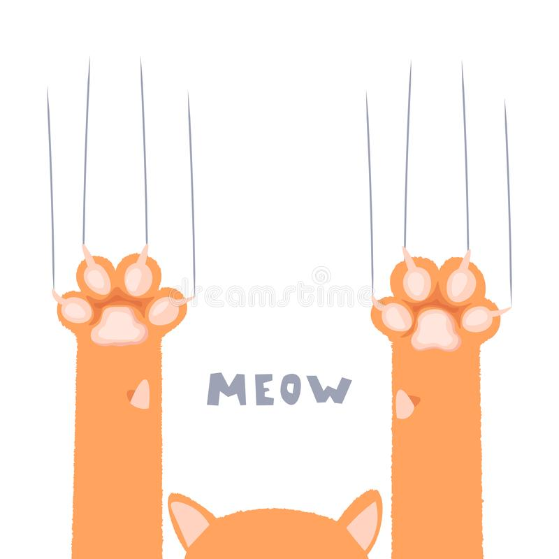 Kot łapy tapety, nogi, psia łapa, kota tło, figlarka płaski projekt, druki, kreskówka, śliczny kot stopy tapety wektor ilustracja wektor