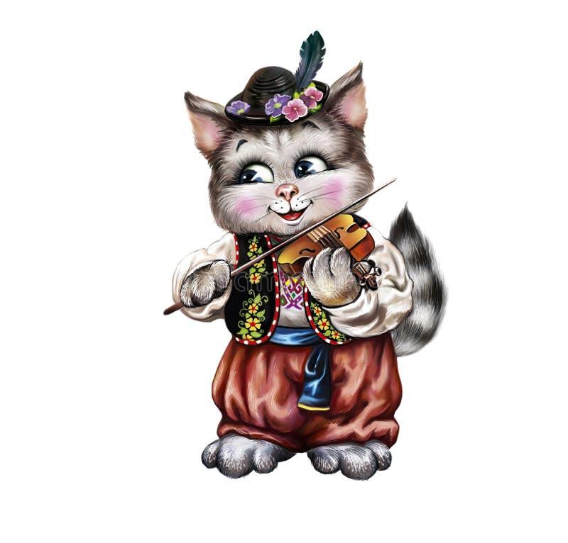 Kot bawić się skrzypce ilustracja wektor