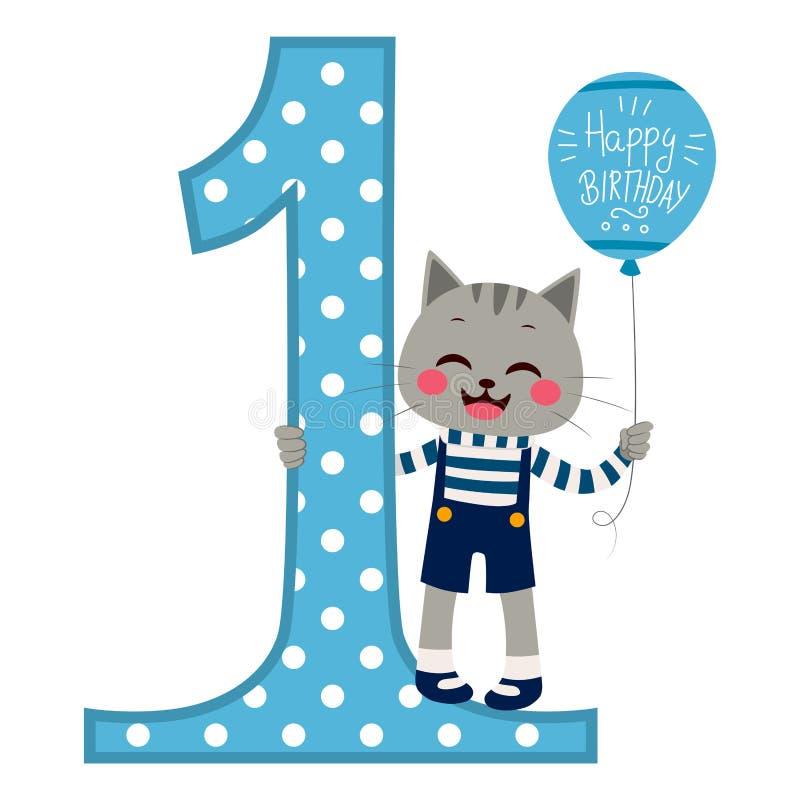 Kot chłopiec wszystkiego najlepszego z okazji urodzin royalty ilustracja