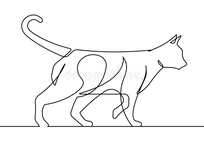Kot Chodzi Ciągłej linii wektoru ilustrację royalty ilustracja