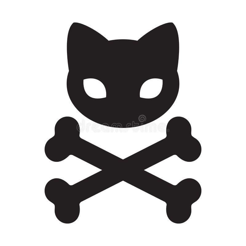 Kot czaszki ikony krzyża kości loga Halloweenowy ilustracyjny symbol ilustracja wektor