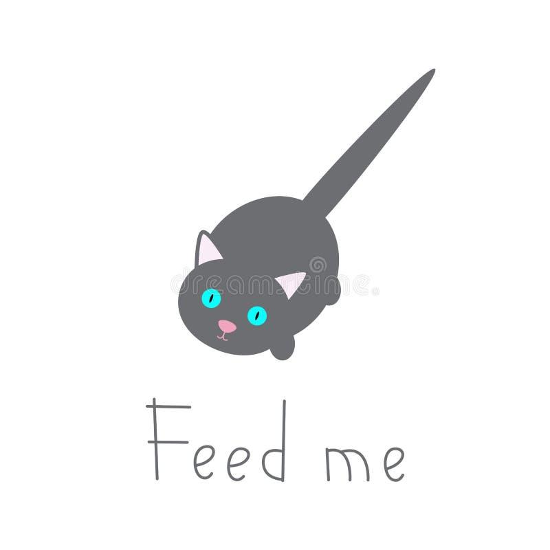 Kot czeka jedzenie royalty ilustracja