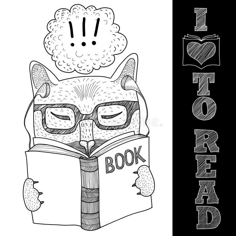 Kot czyta książkę z szkłami ilustracji