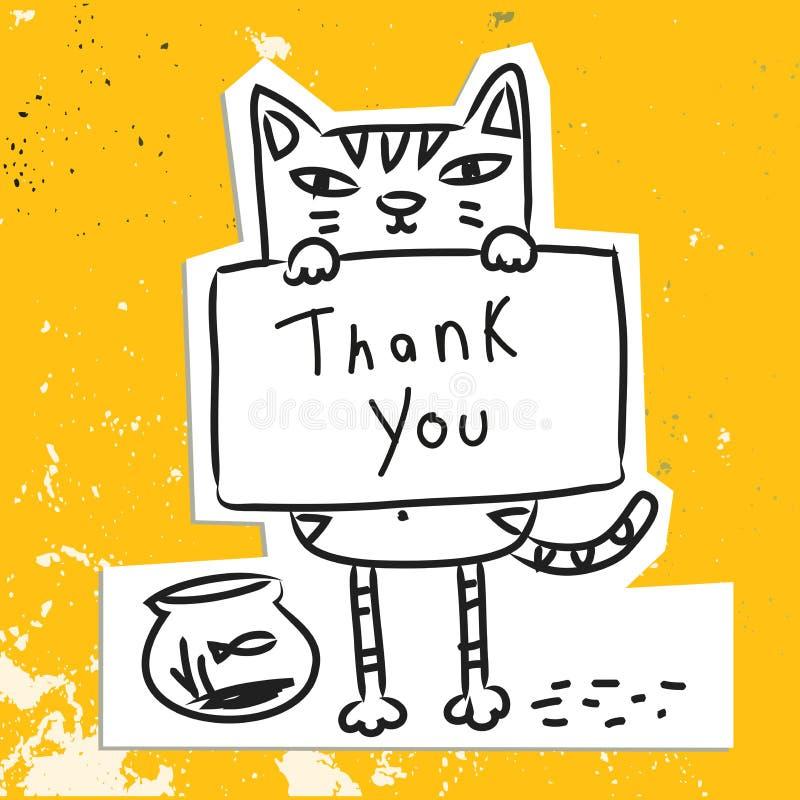 Kot dziękuje ciebie plakat royalty ilustracja