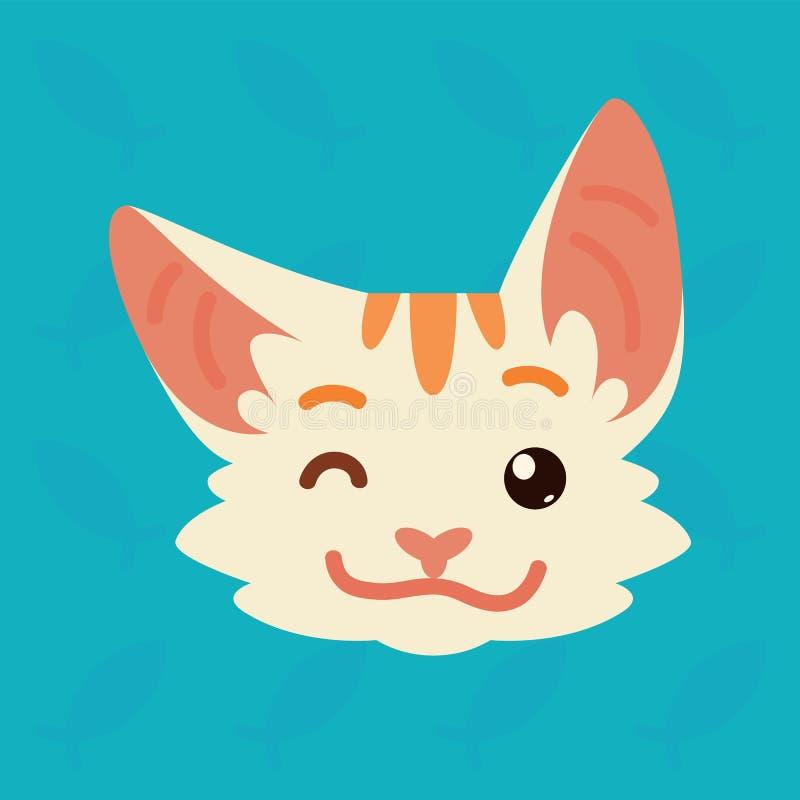 Kot emocjonalna głowa Wektorowa ilustracja śliczna kiciunia pokazuje pozytywną emocję Mrugnięcia emoji smiley ikony Druk, gadka ilustracja wektor