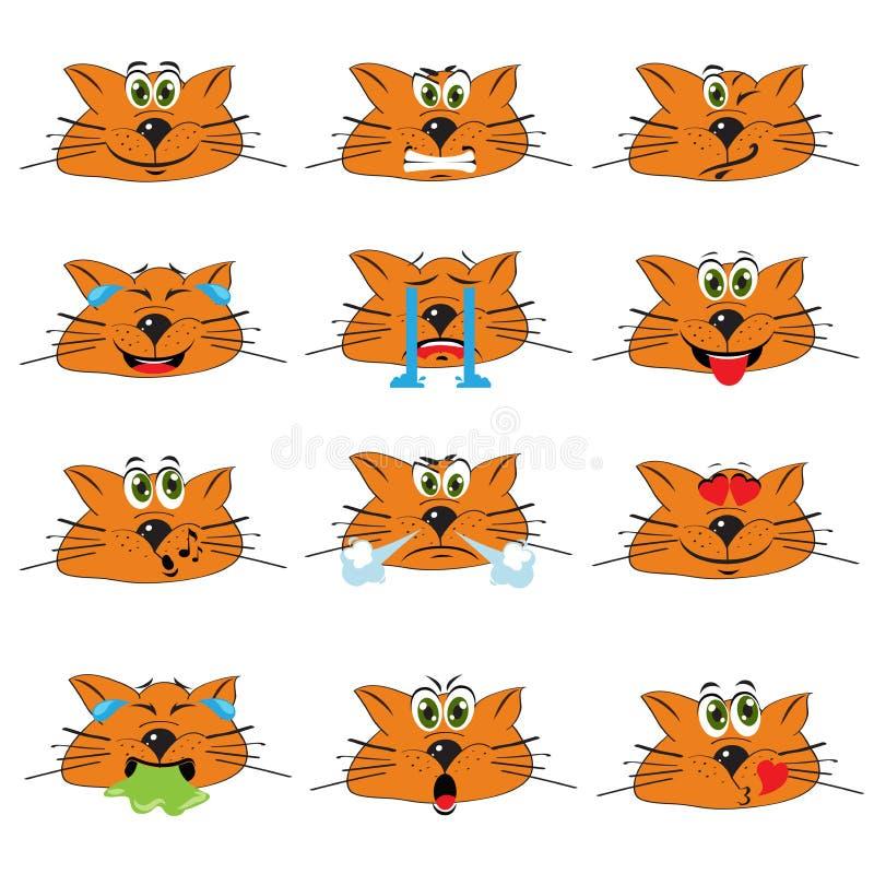 Kot Emojis Ustawiający Emoticons ikony Odizolowywać royalty ilustracja