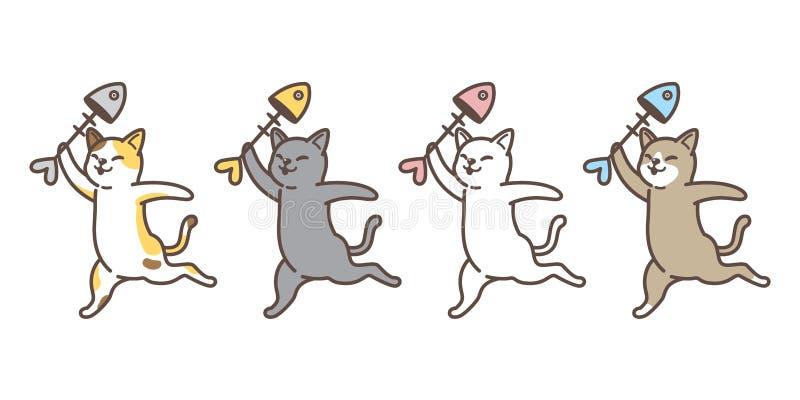 Kot figlarki perkalu ryba charakteru wektorowej łososiowej kreskówki loga ikony ilustracyjny doodle ilustracja wektor