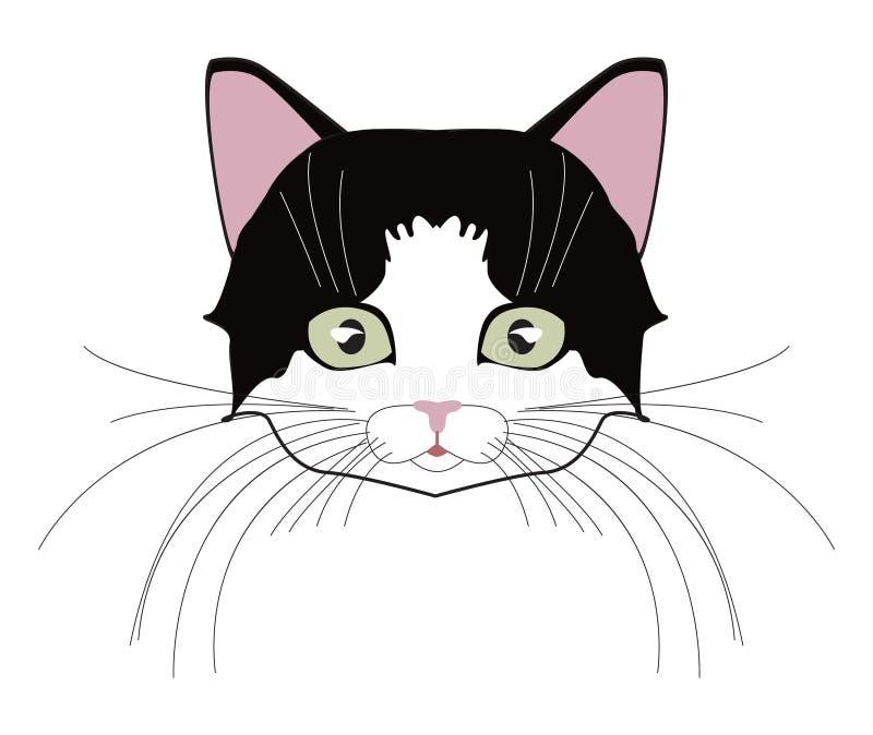 Kot głowa Stawia czoło figlarki, bokobrody, ucho, kaganiec i wełna, również zwrócić corel ilustracji wektora ilustracji