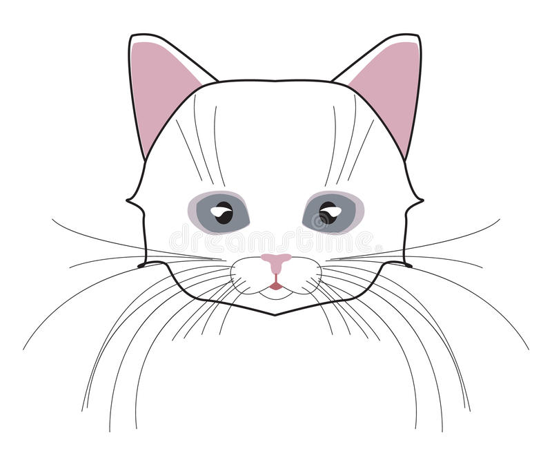 Kot głowa Stawia czoło figlarki, bokobrody, ucho, kaganiec i wełna, również zwrócić corel ilustracji wektora ilustracja wektor