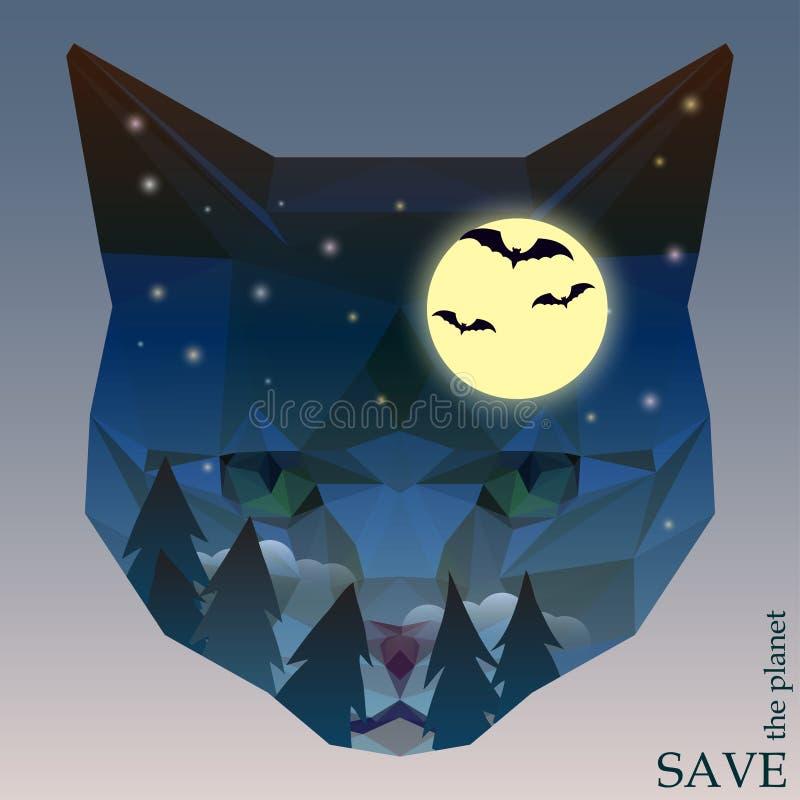 Kot głowa z noc lasem, nietoperze i księżyc, Abstrakcjonistyczna pojęcie ilustracja na temacie ochrona natura i zwierzęta royalty ilustracja