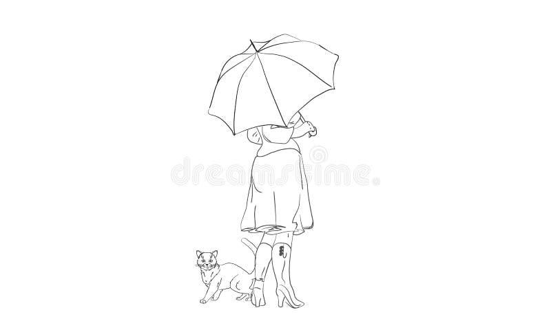 Kot i dziewczyna chowaliśmy od deszczu pod parasolem royalty ilustracja