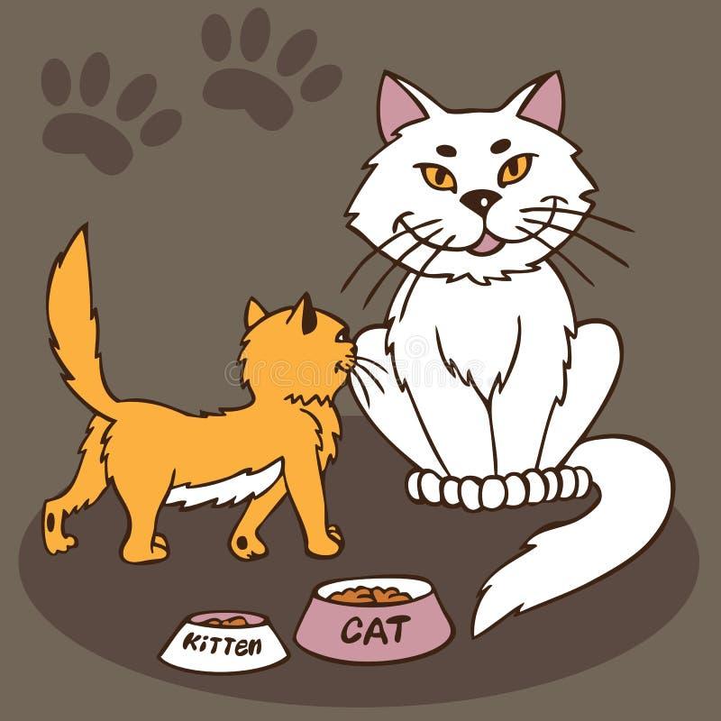 Kot i figlarka z pucharem jedzenie ilustracji