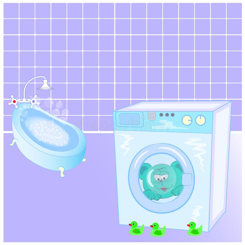 Kot i kaczki w łazience ilustracja wektor