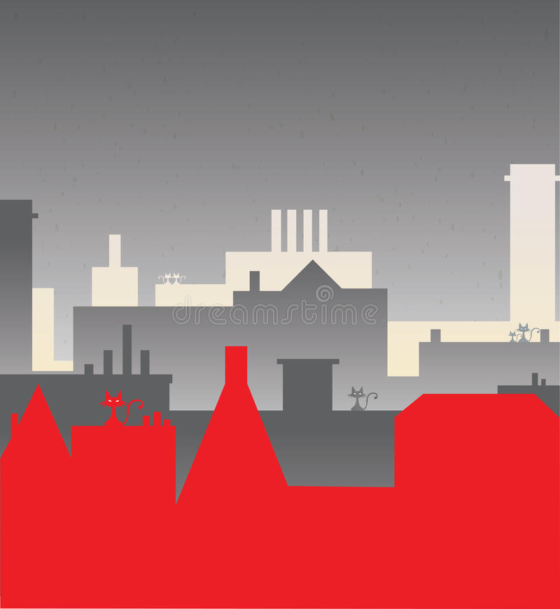 Download Kot i miasto ilustracja wektor. Obraz złożonej z zarządzanie - 33057453