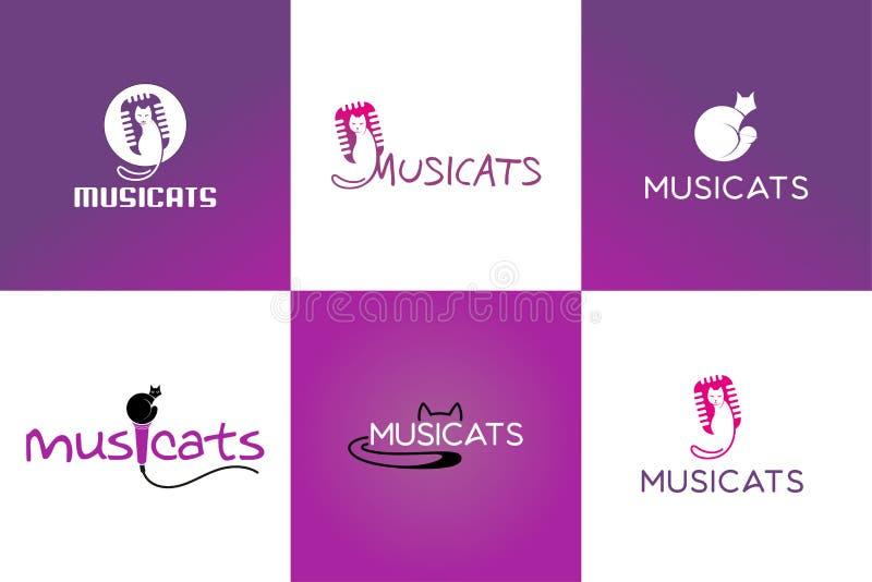 Kot i muzyka logo ilustracji