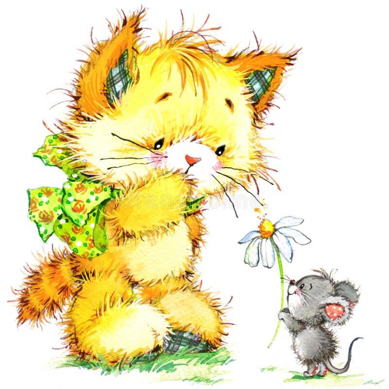 Kot i mysz dzieciaka tło dla świętuje festiwal i przyjęcia urodzinowego akwarela