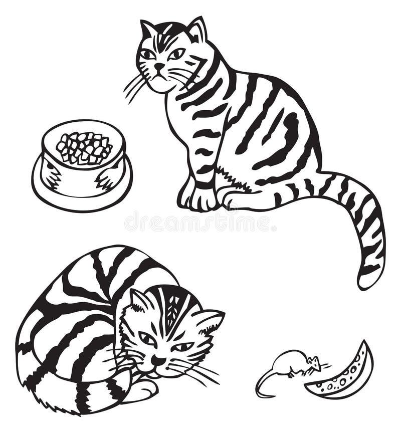 Kot i mysz z serem royalty ilustracja