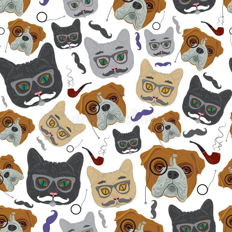 Kot i pies wektor bezszwowy wzoru ilustracja wektor