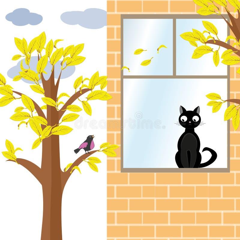 Kot i ptak w jesieni ilustracja wektor