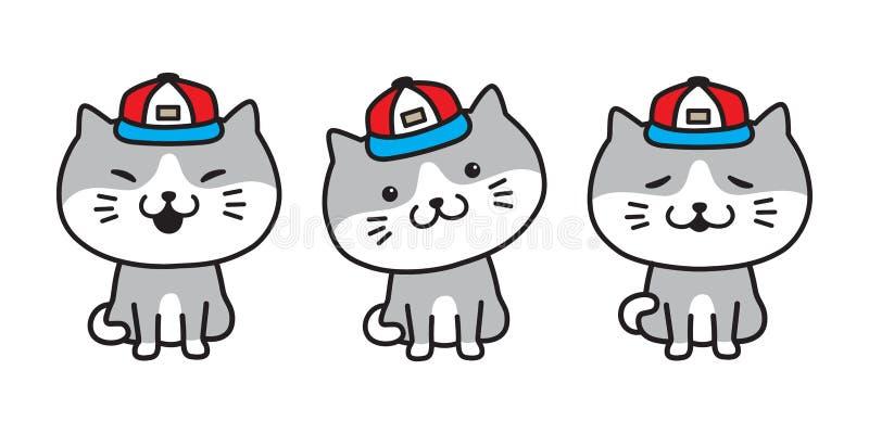 Kot ikony loga figlarki charakteru nakrętki wektorowej cycowej kreskówki ilustracyjny doodle ilustracji
