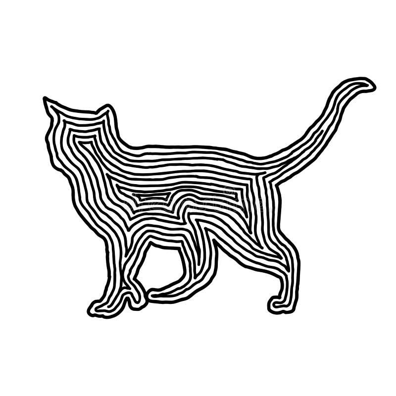 Kot ilustracyjna ikona w czerni odsadzki linii Odcisku palca styl ilustracja wektor