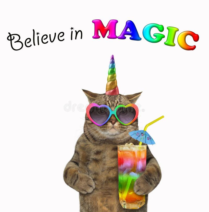 Kot jednorożec pije koktajl 3 royalty ilustracja