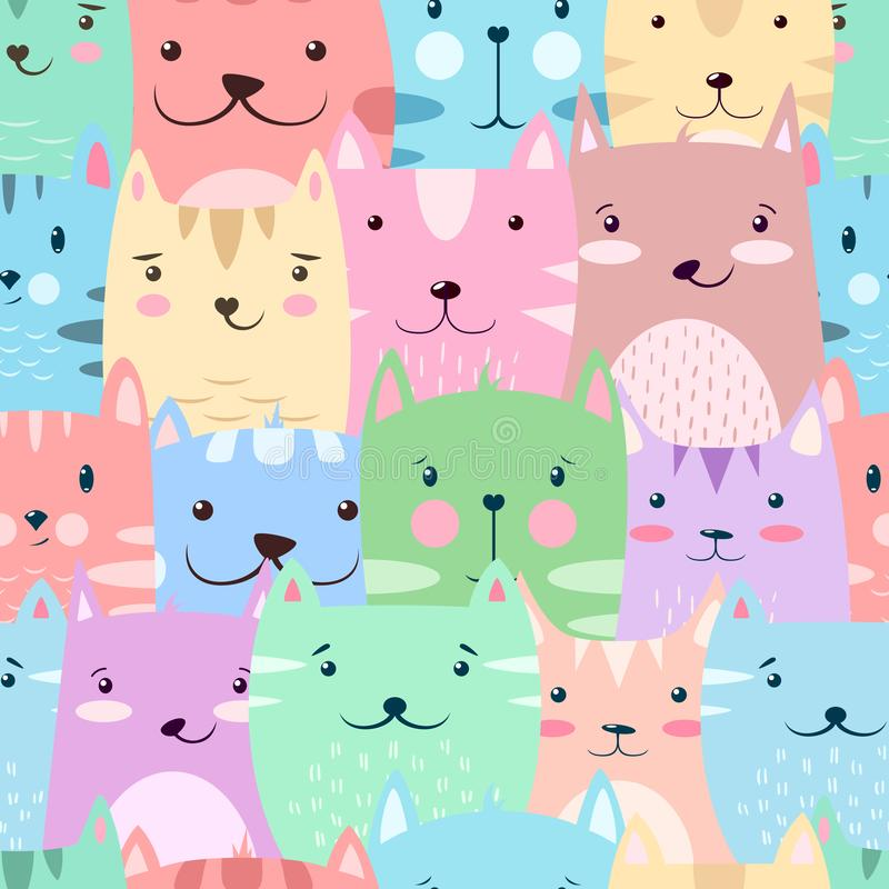 Kot, kiciunia - śliczna, śmieszny wzór royalty ilustracja