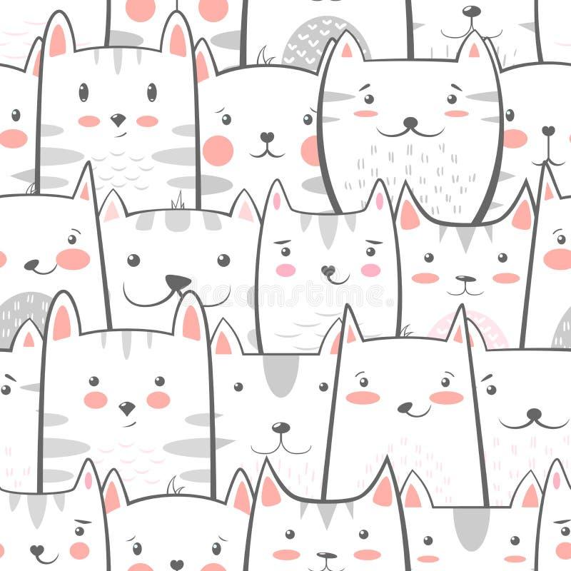 Kot, kiciunia - śliczna, śmieszny wzór ilustracja wektor