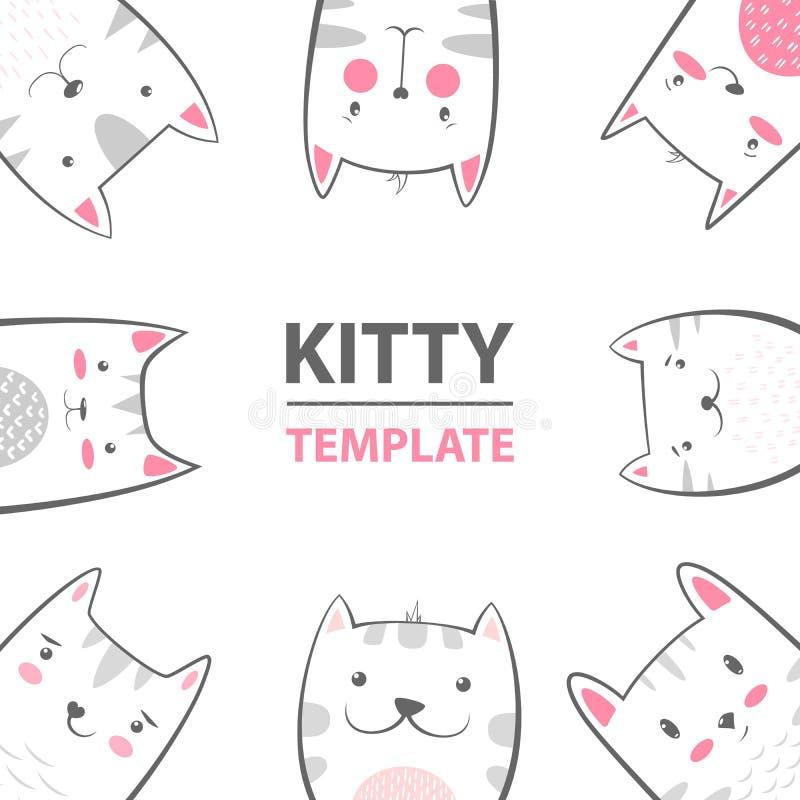 Kot, kiciunia charaktery - kreskówka szablon royalty ilustracja