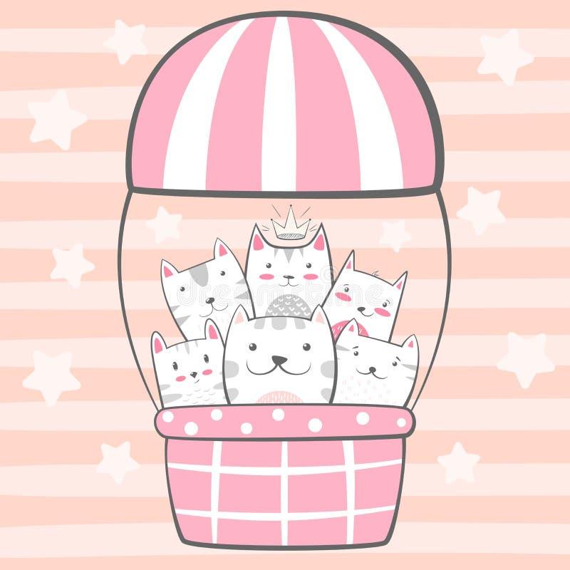 Kot, kiciunia charaktery Lotniczego balonu ilustracja royalty ilustracja
