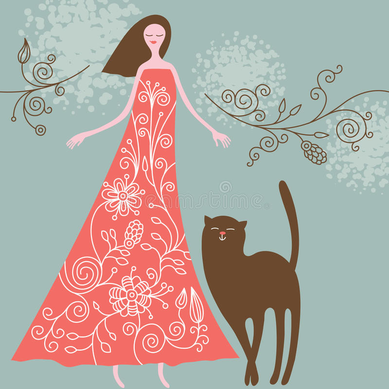 kot kobieta royalty ilustracja