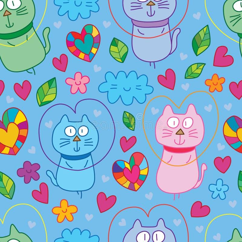 Kot komarnicy miłości śliczny bezszwowy wzór ilustracja wektor