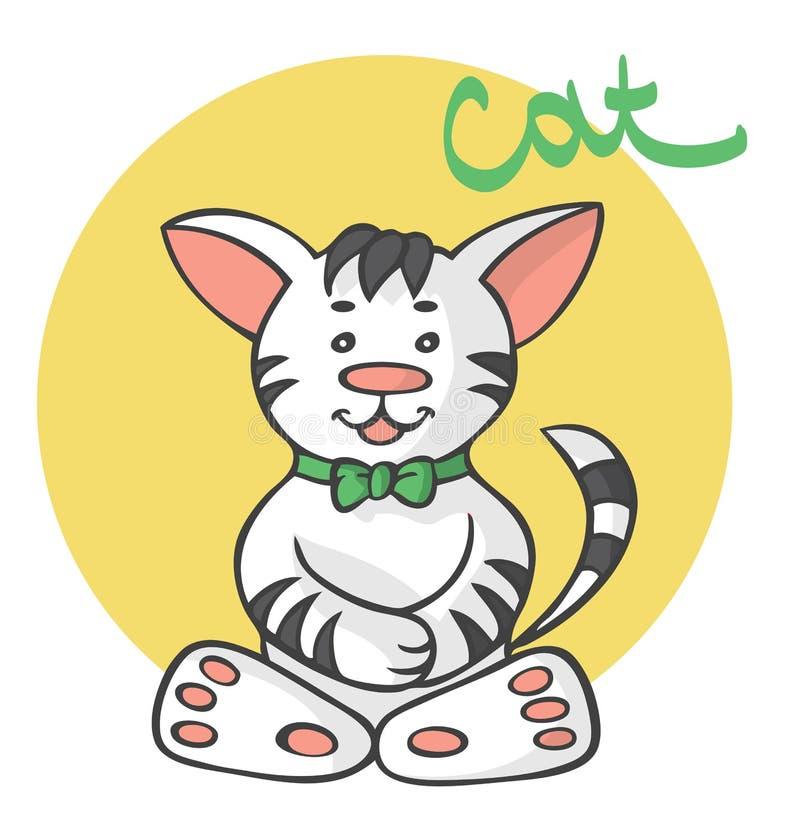 Kot kreskówka z łękiem ilustracja wektor