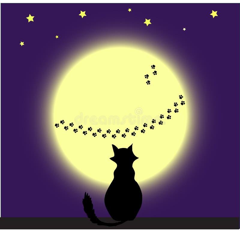 kot księżyc ilustracji